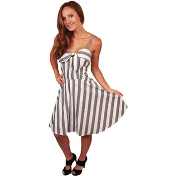 Grey Candy Stripe Rockabilly Dress