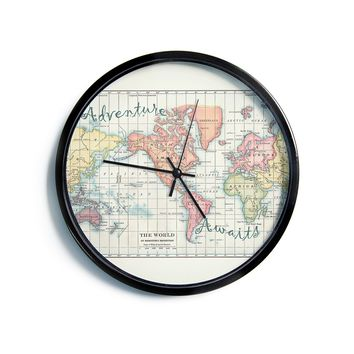"Catherine Holcombe ""Adventure Awaits World Map"" Beige Pink Mixed Media Vintage Travel Modern Wall Clock"