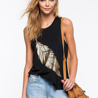 Black Feather Print Sleeveless Shirt