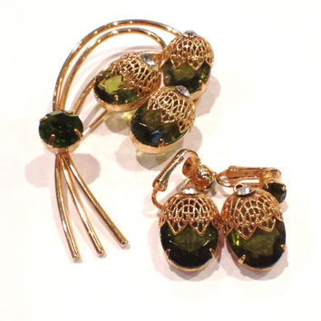 Vintage Sarah Coventry Brooch and Earrings Set, Clip On, Touch of Elegance, Green Acorn Rhinestones and Gold Filigree