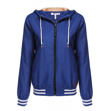 Women Long Sleeve Casual Zip Up Hooded Lightweight Bomber Jacket