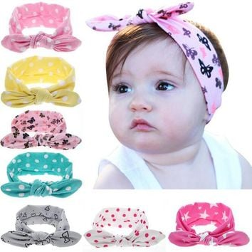 2017 Princess Baby Girl Newest Turban Headband Head Wrap Knotted Hair Band Bandeau Bebe Turbante Headwear Print For Infant Kids