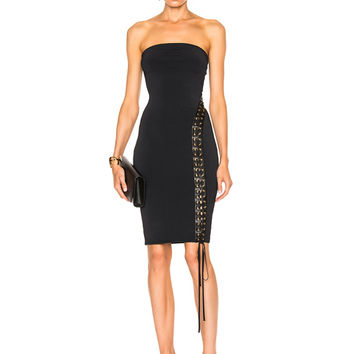 Alexandre Vauthier Lace Up Detail Knit Dress in Black | FWRD