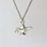 Magic Lamp Necklace In Antique Silver, Hypoallergenic Chain