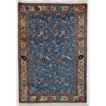 Oriental Sarook Persian Tribal Rug, Blue/Red