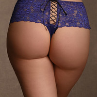 Plus Size Lingerie | Plus Size Panties | Lace Cheeky Boyshort With Lace Up Back | Hips & Curves