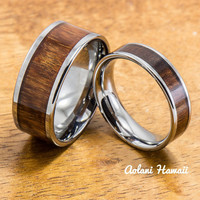 Wedding Band Set of Tungsten Rings with Hawaiian Koa Wood Inlay (6mm & 10mm width, Flat Style)