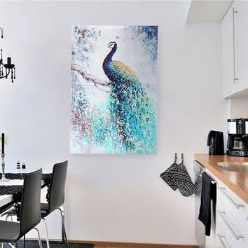 40x60cm Unframed Canvas Peacock Printing Painting Wall Art Picture Home Decor