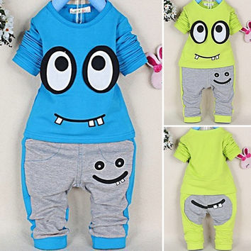 2PCS Baby Boys Girls Infant Suit Kids Long Sleeve Tops+Pants Outfit Sets D_L = 1712879428