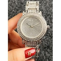 MK MICHAEL KORS Fashion Woman Casual Diamond Quartz Movement Watch Wristwatch Silver W-Fushida-8899