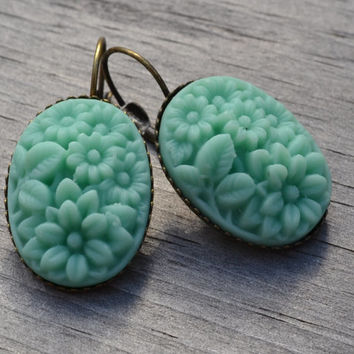 Mint Boho Earrings, Floral Earrings, Vintage Carved Resin, Floral Bouquet Oval, Antiqued Brass Lever Back