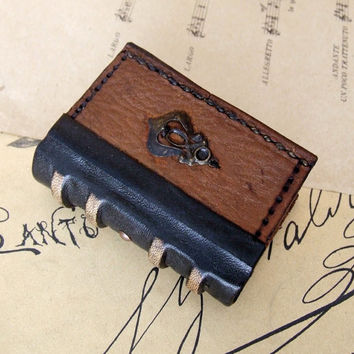 Tiny Book or Journal, Brown Vintage Leather, Miniature