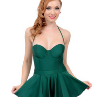 Vintage 1950s Style Pin-Up Emerald Green Fit N Flare Bandeau One Piece Swimsuit