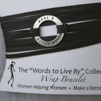 Leather Wrap Bracelet - Words to Live By
