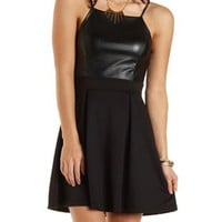 Faux Leather-Topped Skater Dress by Charlotte Russe