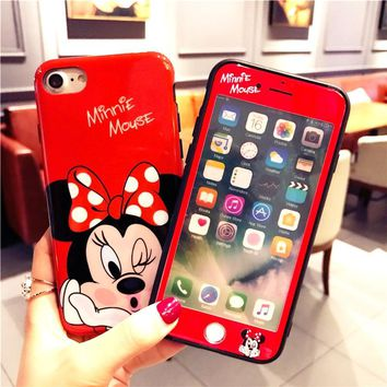 Cartoon Mickey Minnie Mouse phone Case For iphone 6 7 8 X Cover+ Screen Protector Glass Coque For iPhone 6 7 8 Plus Back Cover
