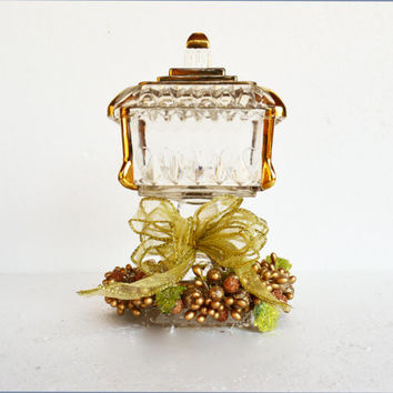 Traditional Wedding Cake Bowl,  Vintage Jeanette Glass with Gold Trim, Square Covered Candy Dish, Bride's Cake Dish