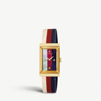 GUCCI YA147405 G-frame PVD gold-plated and mother-of-pearl watch