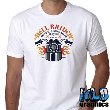2018 Newest Fashion HELL RAIDER t-shirt Vintage Motorcycle Club Proud American Custom Garage100% Cotton Humor Men Crewneck