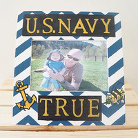 Personalized Blue White Black and Gold Hand Painted Anchor and Chevron U.S. Navy Seabee Wooden Picture Frame Military