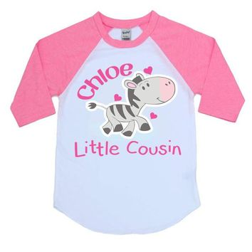 Little Cousin Zebra Personalized Kids Raglan Shirt