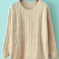 Beige Cabel Knit Sweater