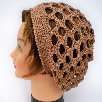 Women's Lace Tam - Crocheted Hat In Toasted Pecan - Cotton Bamboo Slouchy Beanie - Lightweight Boho Beret - Spring / Summer / Fall Fashion
