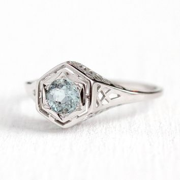 Aquamarine Engagement Ring - Vintage 14k White Gold .35 CT Blue Genuine Gemstone - Size 8 1/2 1920s Fine Bridal Hexagonal Jewelry