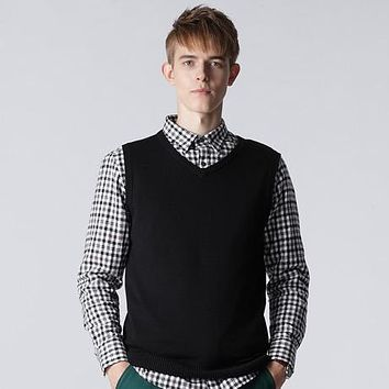 Fashion Style  Men's Vest V-Neck  Sweaters 100% Cotton Knitted Sweater Pullover