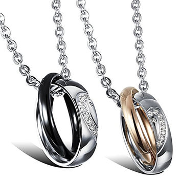 Couple Matching Heart Interlocking Double Rings Promise Necklaces