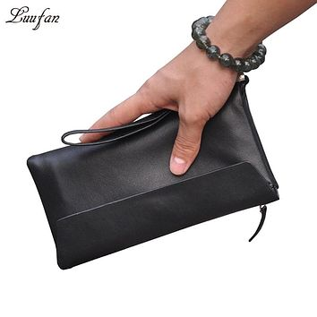 Genuine leather bifold Long Wallet leather chain clutch Cowhide long wallet with zipper phone pocket 16 card holders purse