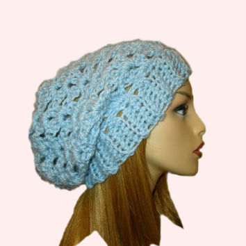 Light Blue Slouchy Hat Beanie Slouch Women Teen Periwinkle Baby Blue Spring Crochet Hat