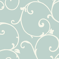 Sample of Malabar Wallpaper in Metallic Blue and Ivory design by Ronald Redding