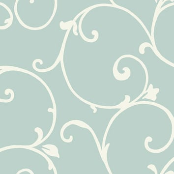 Malabar Wallpaper in Metallic Blue and Ivory design by Ronald Redding