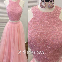 Pink tulle sequin two pieces long prom dress, pink evening dress