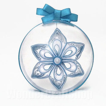 blue christmas tree ornament, clear ball decoration, paper ornament, christmas star, 6 pointed star, holiday decoration, paper snowflake