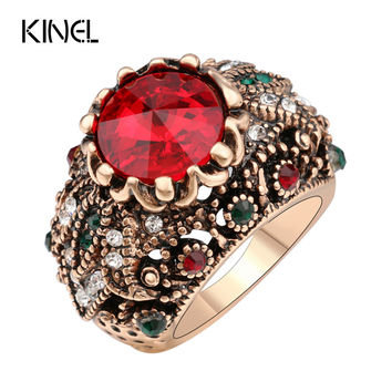 Kinel Red Turquoise Satellite Stone Rings For Women Plating Ancient Gold Vintage Jewelry Crystal Ring Love Gift