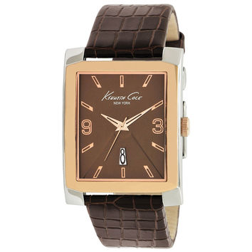 Kenneth Cole KC1783 Men's New York Brown Dial Brown Leather Strap Rectangle Watch