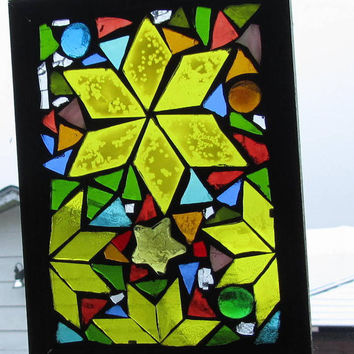 Christmas Card, Stars   Stained Glass SunCatcher or wall Decoration