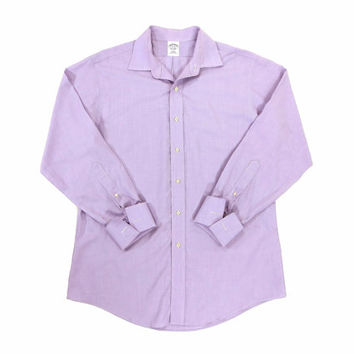 Brooks Brothers Button Down Shirt in Lavender - Oxford Dress Slim Fit Ivy League Menswear - Men's Size 16-33 Large Lrg L
