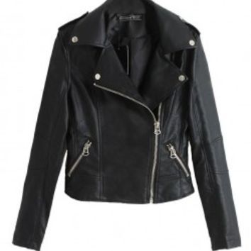 Black PU Leather Jacket with Big Lapel