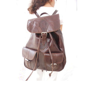 SALE - Brown Leather backpack, Girls and Boys Soft Leather School College Travel Picnic Weekend Backpack Brown, Gift for Her or Him