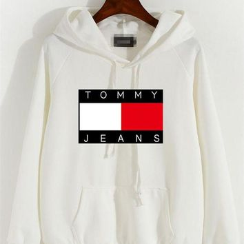 DCCK6HW Tommy Jeans' Women Casual Letter Multicolor Pattern Long Sleeve Hooded Sweater Sweatshirt Tops