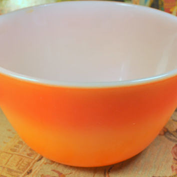 Vintage Anchor Hocking Fire King Red Orange Sunset Mixing Bowl - Retro Kitchen
