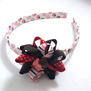 Red Brown Cupcake Hair Bow - Headband Set - Wrapped Headband - Handmade Headband Hair Bow Set - Cupcake Stripe Grosgrain Ribbon Hair Bow Set