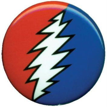 PEAPGQ9 Grateful Dead - Lightning Bolt Button
