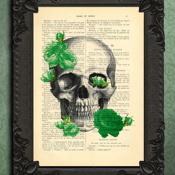 Skull and roses, roses art print, art, prints and posters, skull dictionary art print, skull decor, skull decoration, art print, mixed media