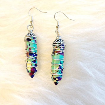 Painted Jasper Wire Wrapped Stone Earrings - Handmade, Stones, Crystal Shaped, Purple, Teal, Aluminum Wire, Pendant, Dangle