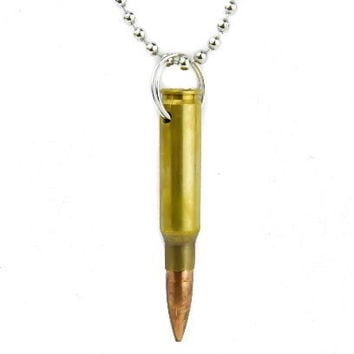 Brass Bullet Necklace 0.308 Mm Full Metal Punk Jacket Jewelry Military Ammo