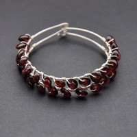 Red Gemstone Earrings, Garnet Beaded Hoops, Sterling Silver Hoop, Christmas Wedding